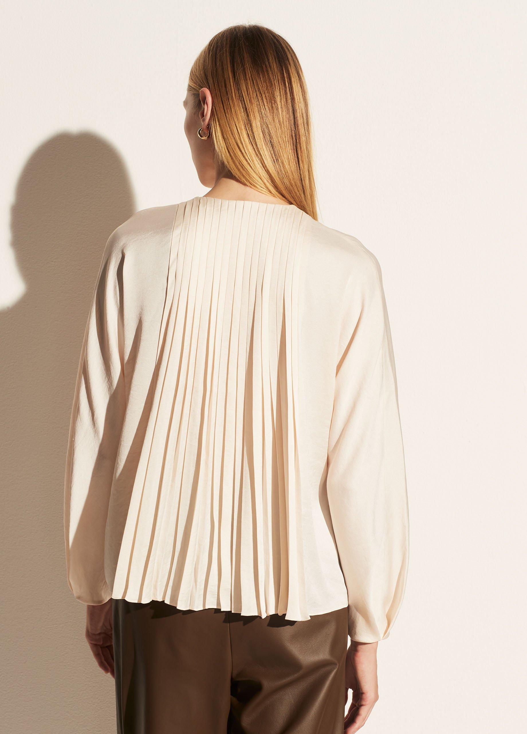 Pleated Paneled Long Sleeve Blouse