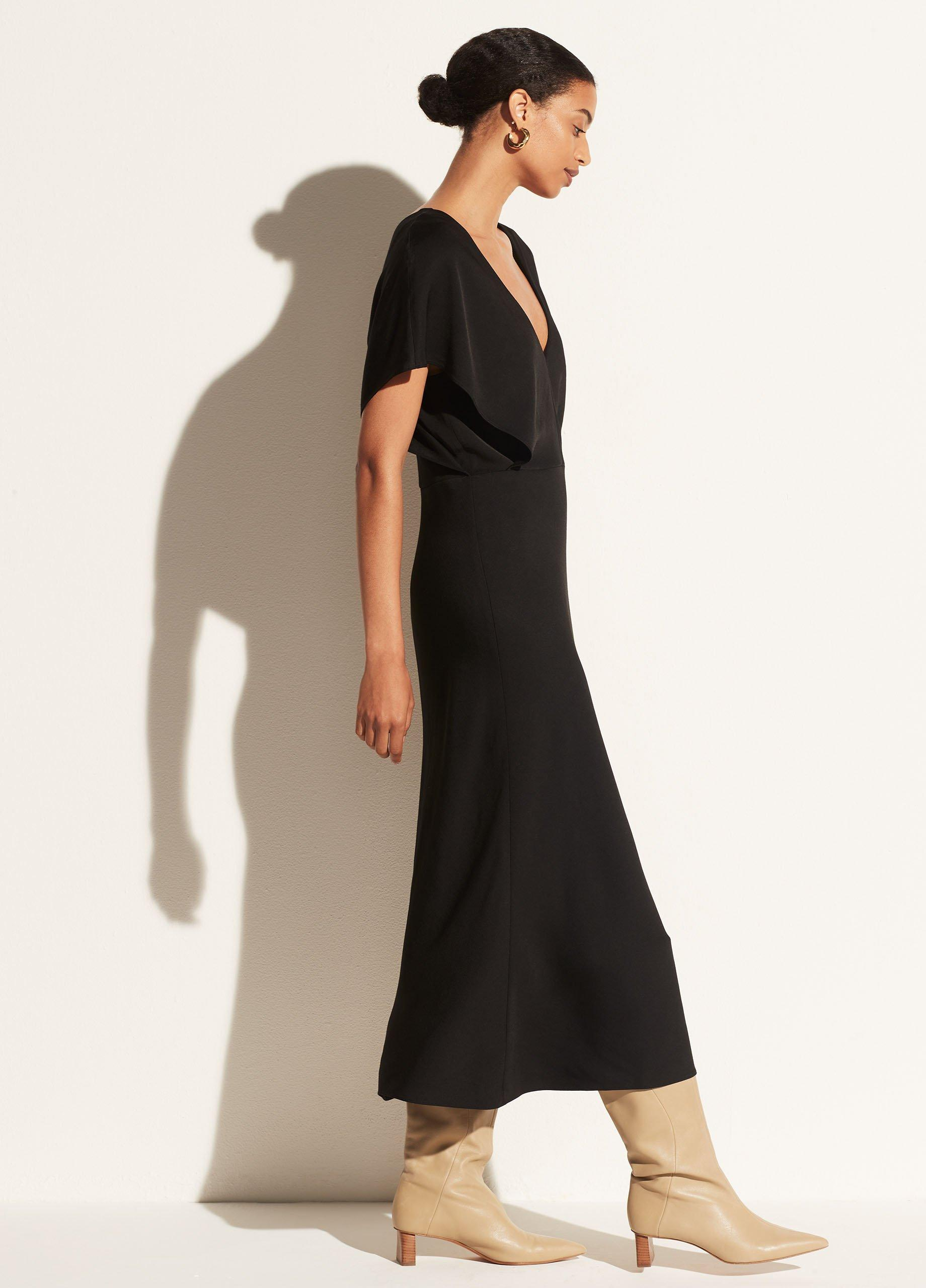 V-Neck Flutter Sleeve Dress