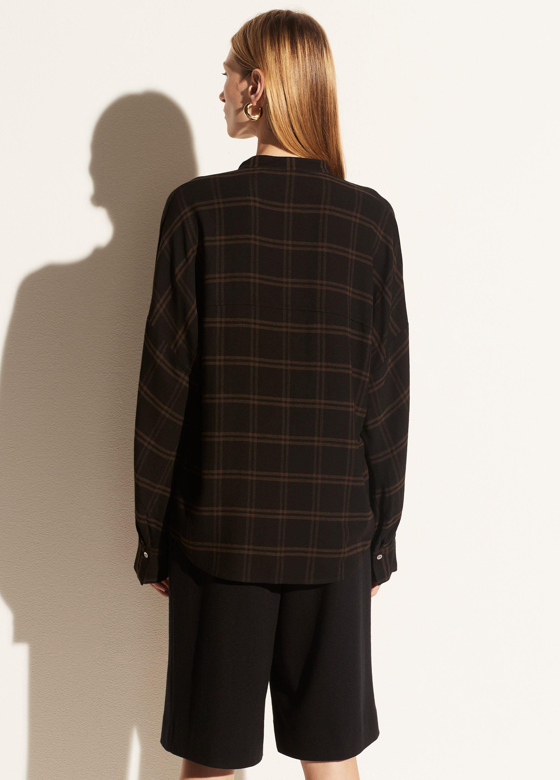 Shadow Plaid Band Collar Pullover