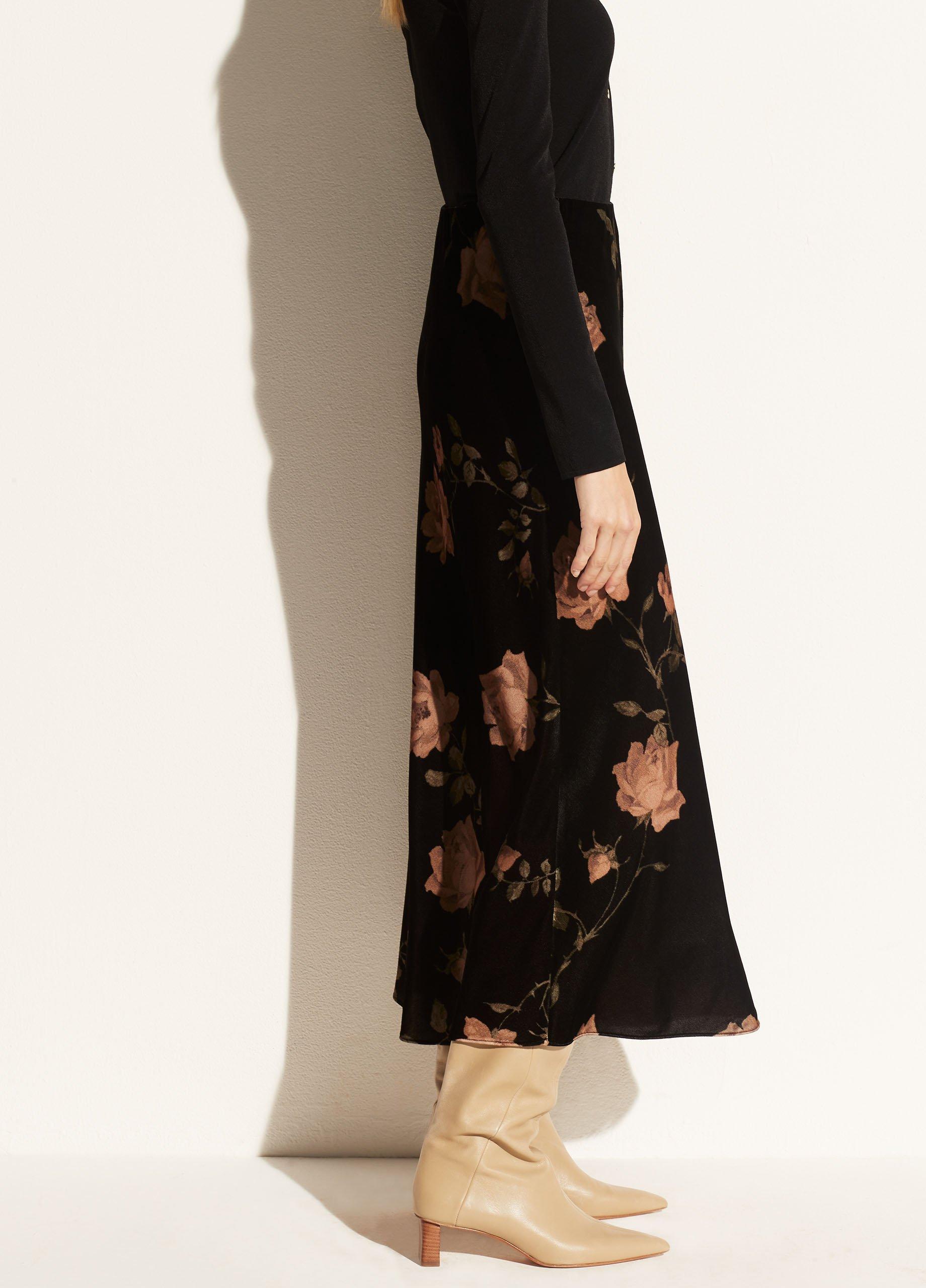 Velvet Autumnal Rose Slip Skirt