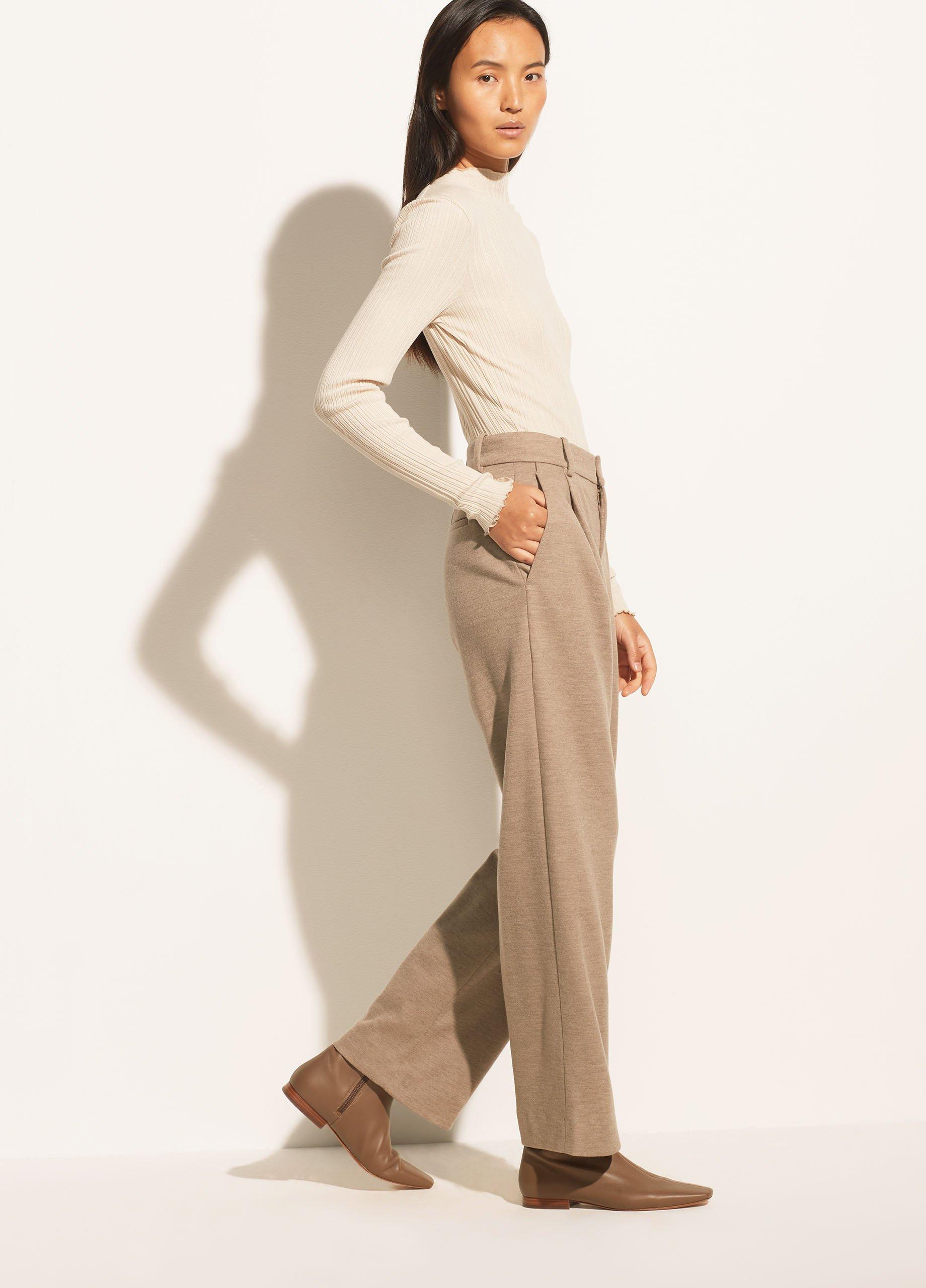 Pleat Front Wide Leg Pant