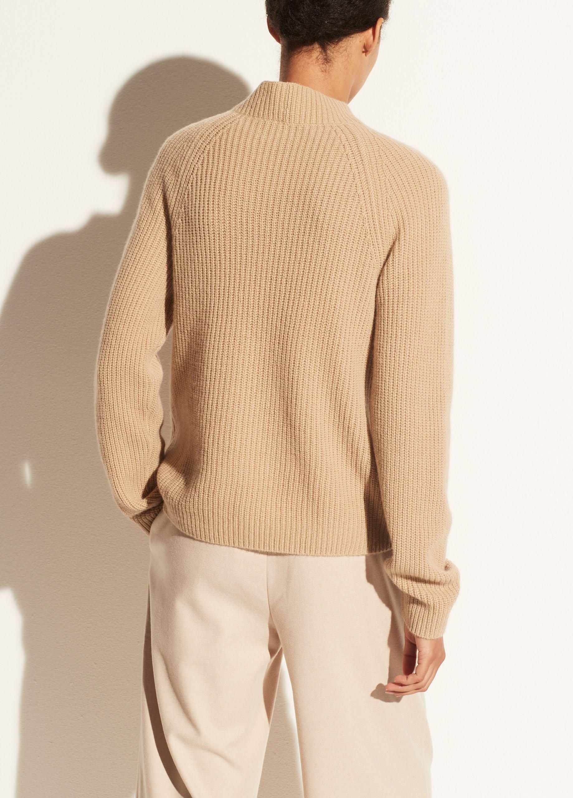 Cashmere Mock Neck Shaker Rib Pullover