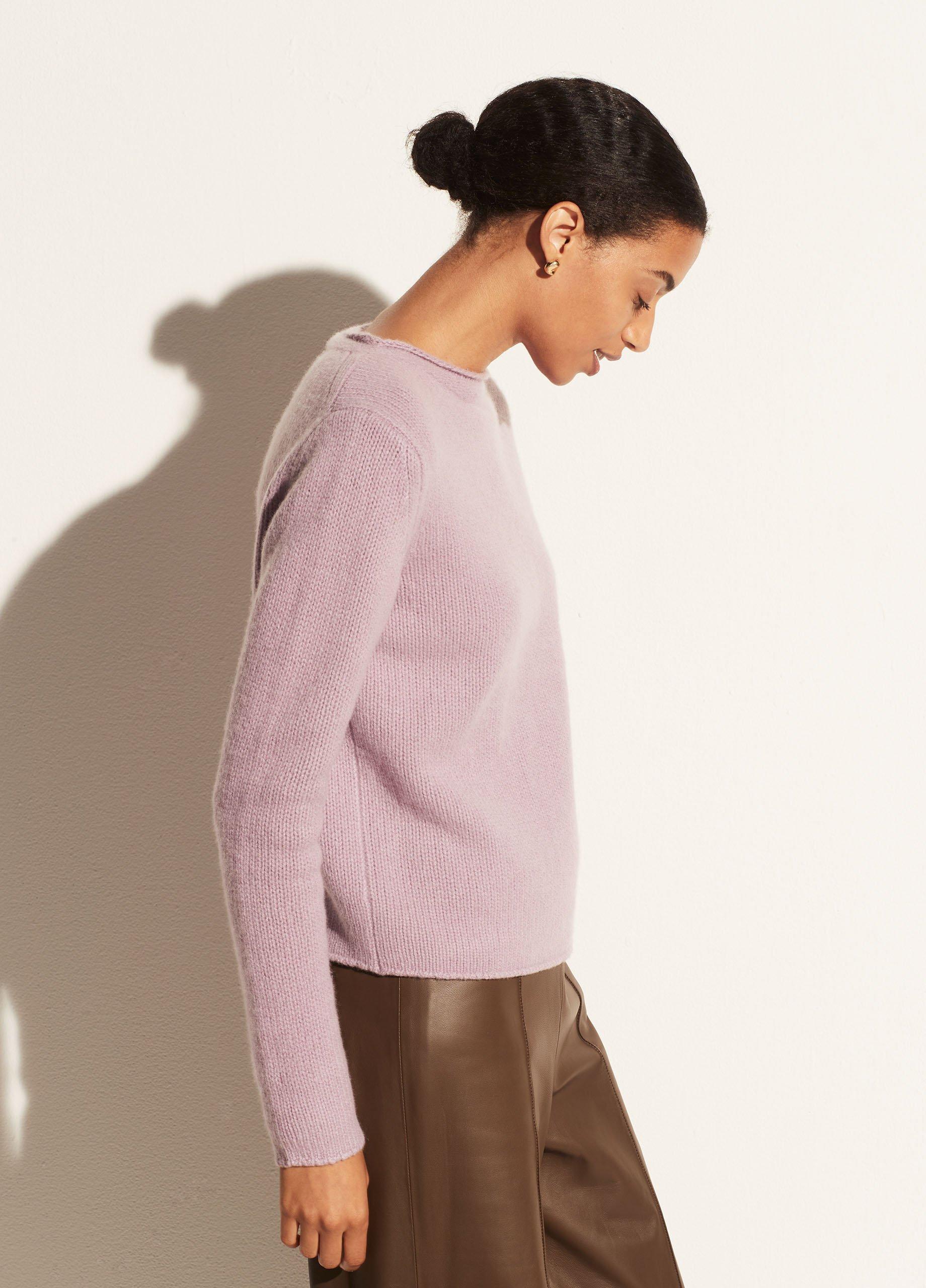 Cashmere Roll Edge Trim Pullover