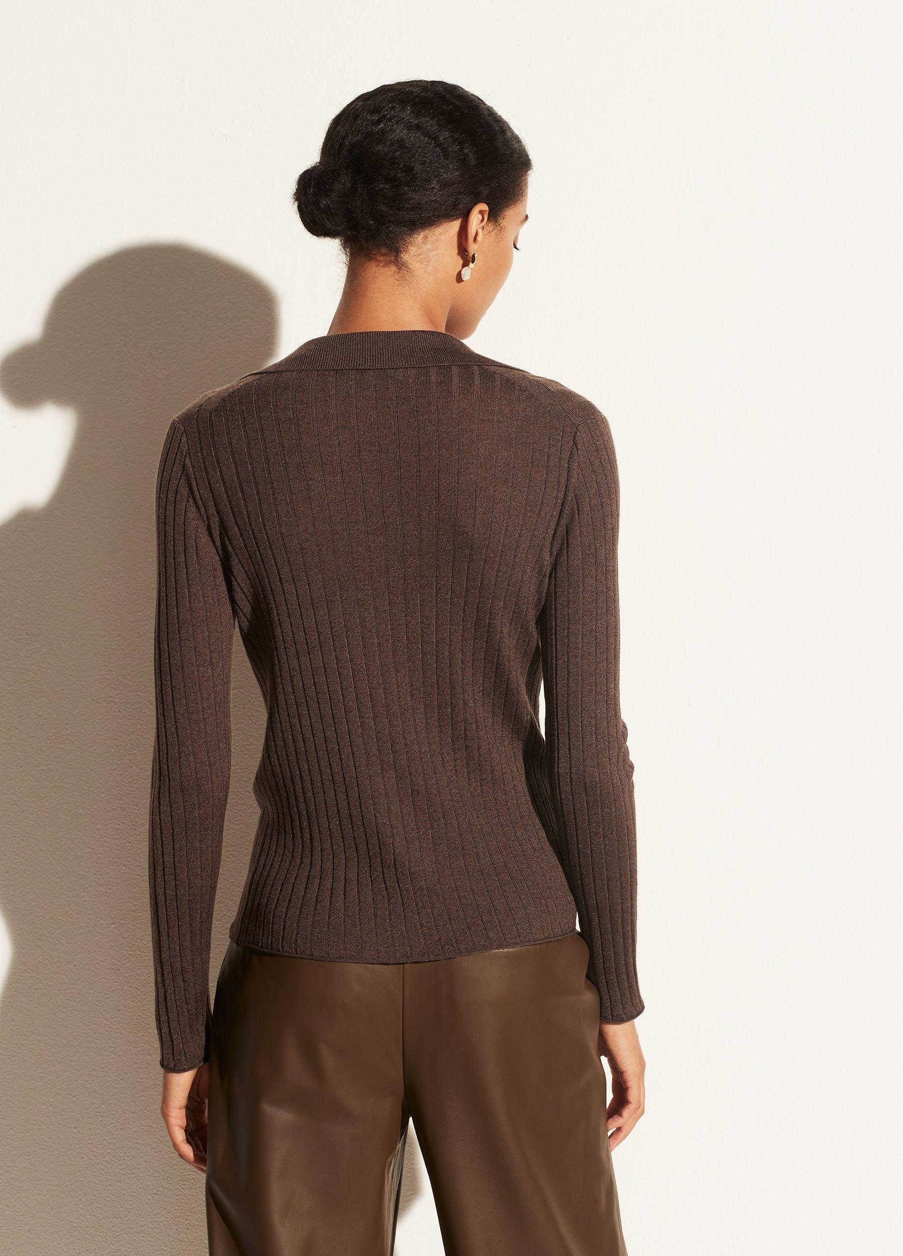 Ribbed Polo Pullover