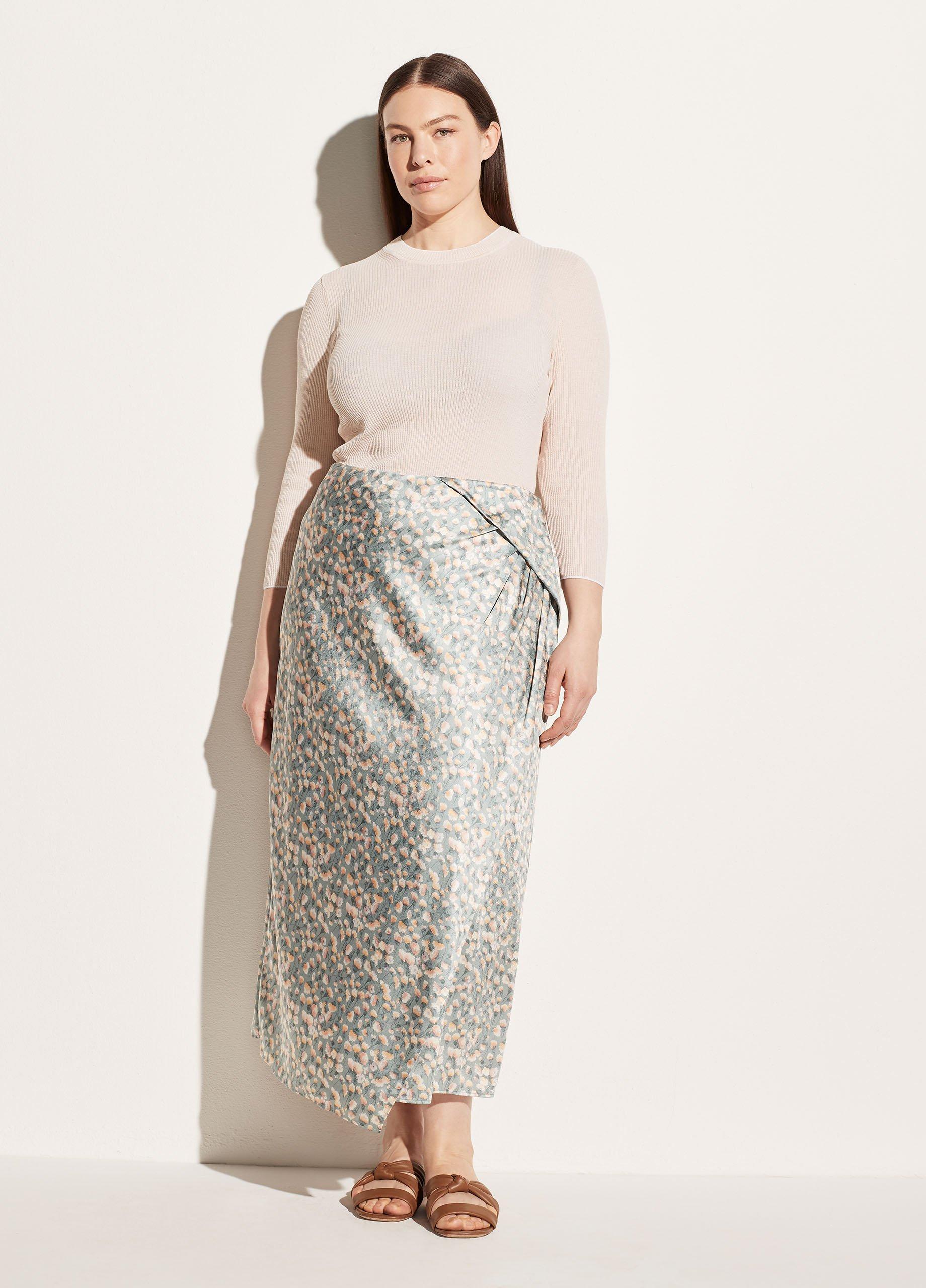 Carnation Asymmetric Cascade Drape Skirt