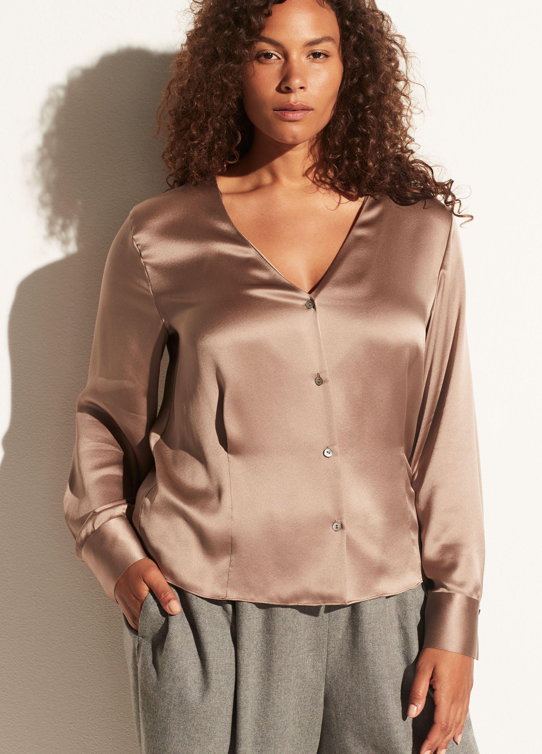Silk Long Sleeve V-Neck Button Down Blouse