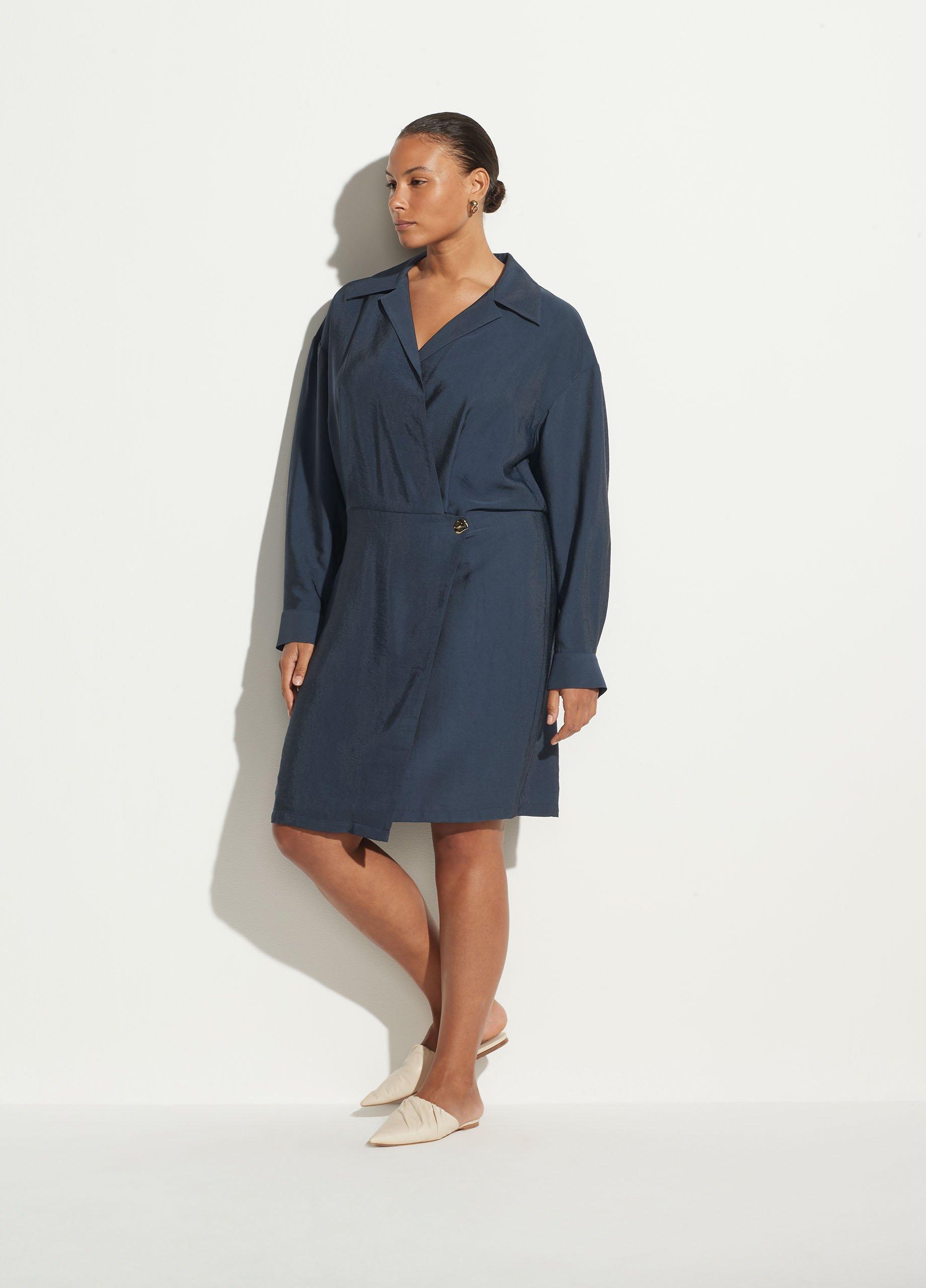 Shaped Collar Long Sleeve Wrap Dress