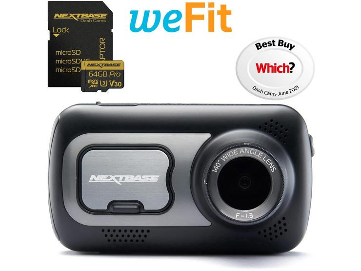 Nextbase 522GW Dash Cam, SD Card & Fit Bundle