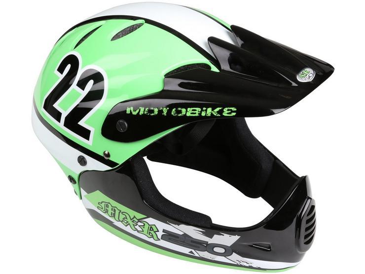 Motobike MXR250 Full Face Kids Bike Helmet - Green (48-54cm)