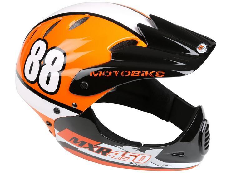 Motobike MXR450 Full Face Kids Bike Helmet - Orange (54-58cm)