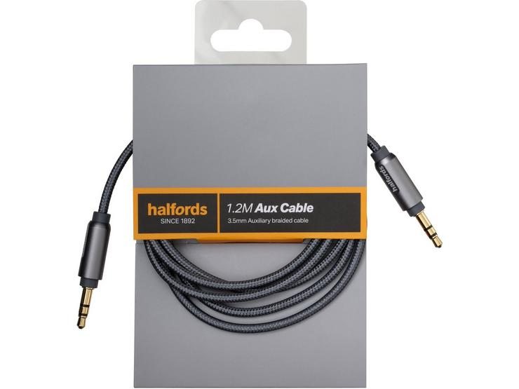 Halfords 1.2M Aux Cable Charcoal