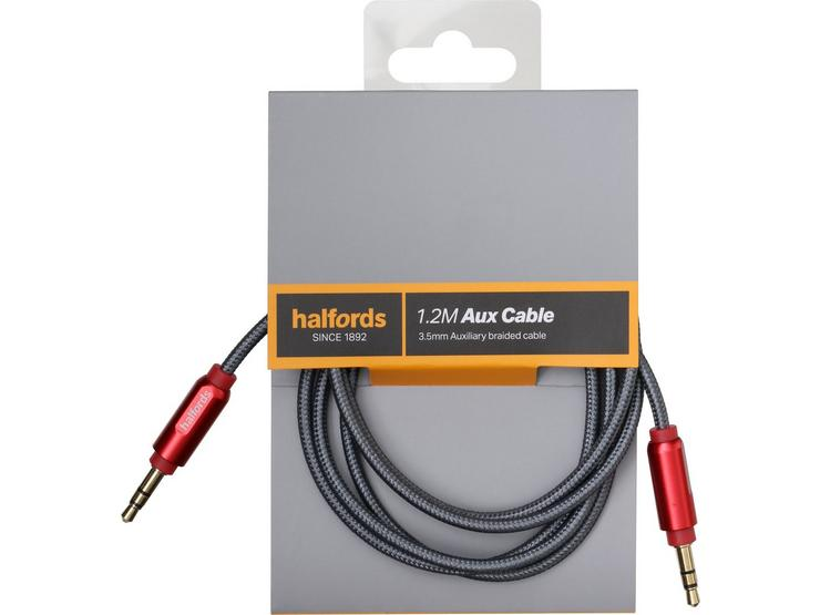 Halfords 1.2M Aux Cable Red/Charcoal