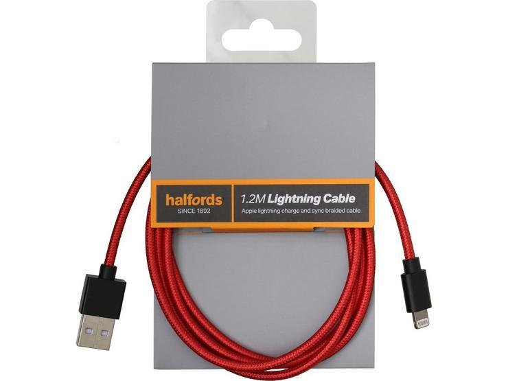 Halfords 1.2M Lightning Cable Black/Red