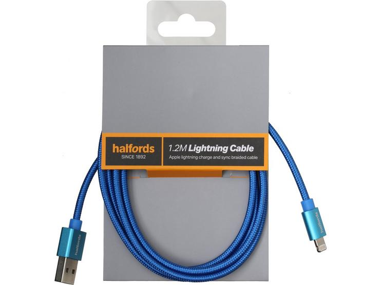Halfords Lightning Cable 1.2m Blue