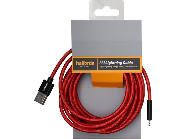 Halfords 3M Lightning Cable Black/Red