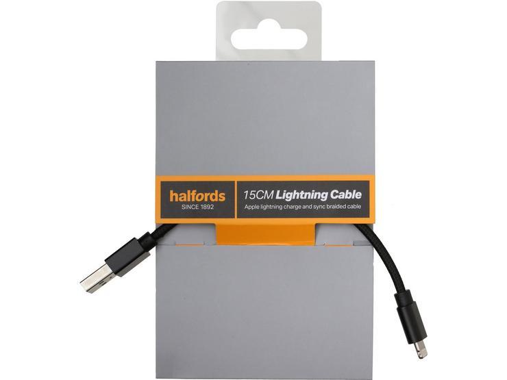 Halfords 15cm Lightning Cable Black