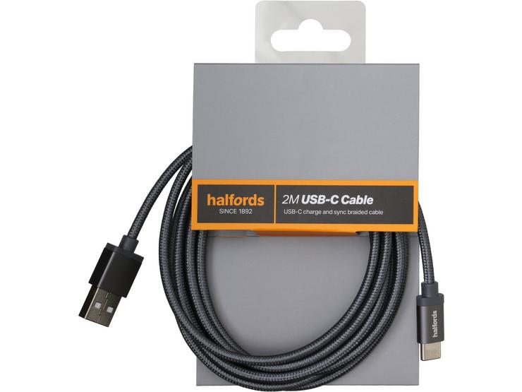 Halfords Type C Cable 2M - Charcoal