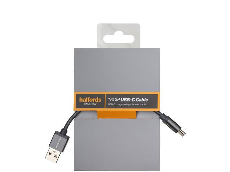 Halfords Type C Cable 15cm - Charcoal