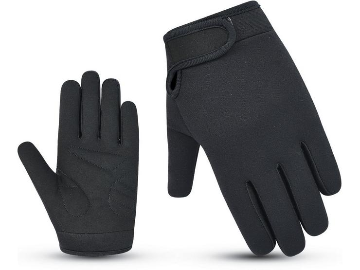 Halfords Essential Full Finger Cycling Gloves - Black - 3-7 years, 7-10 years