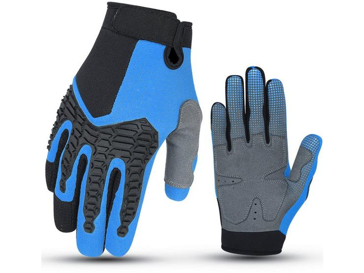 Halfords Essential BMX Full Finger Cycling Gloves - Blue - 3-6 years, 7-10 years