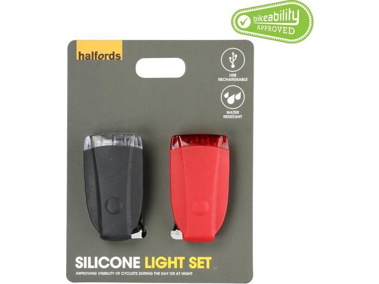 Halfords Silicone Bike Light Set - Black/Red