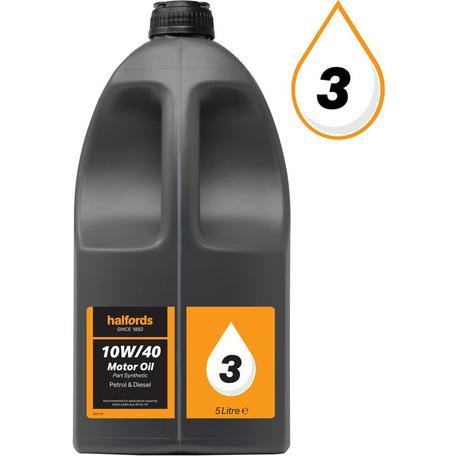 Halfords 10w40 Part Synthetic Oil 3 5 Litres Halfords Uk