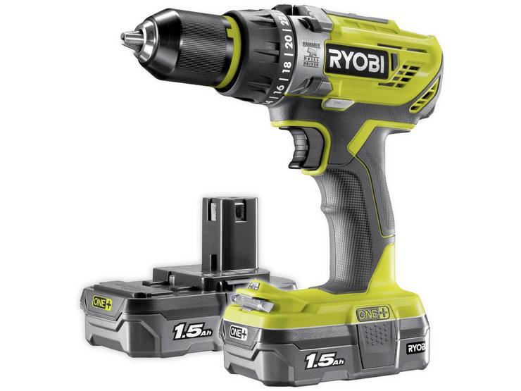 RYOBI 18V ONE+ Combi Drill Starter Kit (2x1.5Ah)