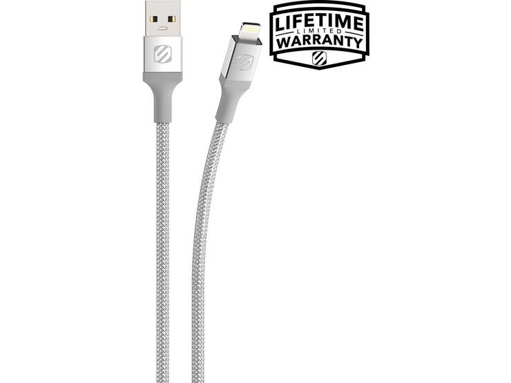 Scosche USB-A Lightning Braided Cable - Silver 1.2m