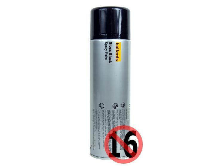 Halfords Gloss BLACK Spray Paint 500ml
