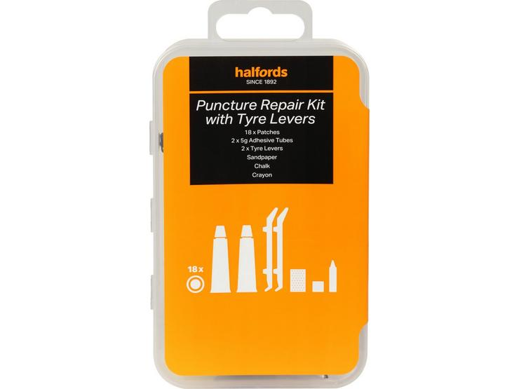 Halfords Essentials Puncture Repair Kit with Tyre Levers - Large
