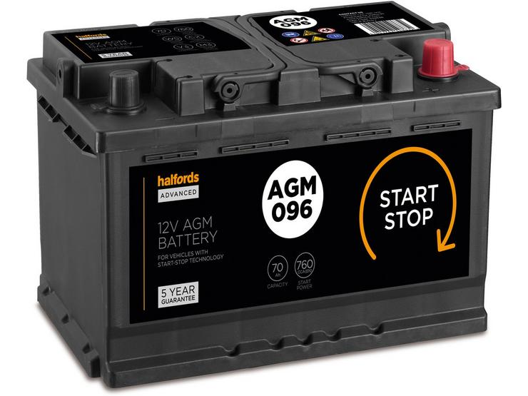 Halfords  096AGM Start/Stop AGM 12V Car Battery 5 Year Guarantee