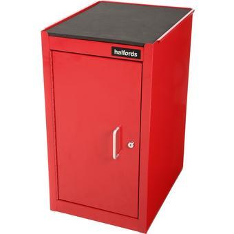 575719: Halfords 1 Door 1 Shelf Side Cabinet - Red