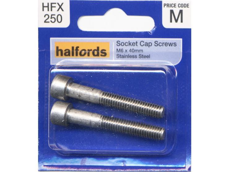 Halfords Socket Cap Screws M6 x 40mm HFX250